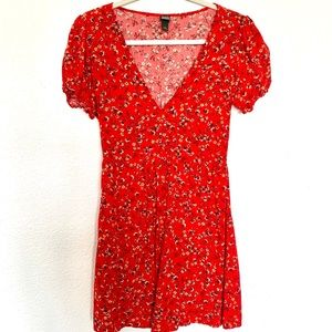 Baby doll swing dress in red with yellow flowers